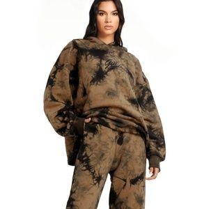 I AM GIA Tatiana Black & Tan Tie Dye Hoodie XXS